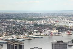 NEW YORK,USA- JUNE 18,2018:Aerial view of new york city from one world trade building. NEW YORK,USA- JUNE 18,2018:Aerial view of new york city from one world royalty free stock photography