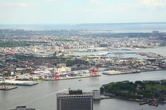 NEW YORK,USA- JUNE 18,2018:Aerial view of new york city from one world trade building. NEW YORK,USA- JUNE 18,2018:Aerial view of new york city from one world royalty free stock image