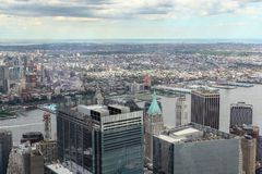 NEW YORK,USA- JUNE 18,2018:Aerial view of new york city from one world trade building.look the bridge. Manhattan center skyline nyc tower observatory cityscape royalty free stock photos