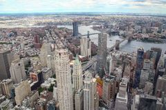 NEW YORK,USA- JUNE 18,2018:Aerial view of new york city from one world trade building.look the bridge. Manhattan center skyline nyc tower observatory cityscape stock photos