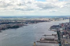 NEW YORK,USA- JUNE 18,2018:Aerial view of river in new york city from one world trade building. Manhattan center skyline nyc tower observatory cityscape stock image