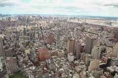 NEW YORK,USA- JUNE 18,2018:Aerial view and top view of new york city from one world trade building at USA. Manhattan center skyline nyc tower observatory stock photo