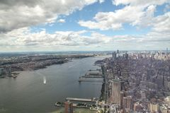 NEW YORK,USA- JUNE 18,2018:Aerial view and top view of new york city from one world trade building at USA. Manhattan center skyline nyc tower observatory royalty free stock photos