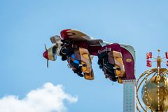 New York, USA - June 22, 2019:  Air race ride in the Luna Park amusement park at Coney Island in New York City - image stock images