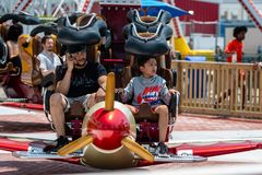 New York, USA - June 22, 2019:  Air race ride in the Luna Park amusement park at Coney Island in New York City - image stock photography