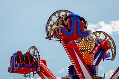 New York, USA - June 22, 2019:  Attraction in the Luna Park amusement park at Coney Island in New York City - image royalty free stock photography