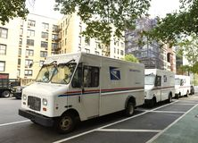 New York, USA - June 9, 2018: The cars of United States Postal S royalty free stock photography