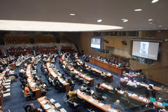 NEW YORK - USA - 11 JUNE 2015 delegates discussing at the united nation Royalty Free Stock Photos