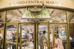 New York, USA - June 19, 2016: Entrance to Grand Central Market in New York City with sign and fish symbol Royalty Free Stock Images