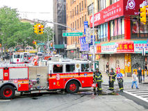 New York, USA, June 2 2011:  FDNY firefighters at work in Chinat Royalty Free Stock Image