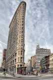 NEW YORK - USA - 11 JUNE 2015 flatiron building HDR vertical view Stock Photography
