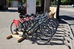 New York,USA-June 12,2018:Hard rock cafe rental bikes near niag