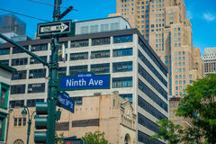 NEW YORK, USA - JUNE 22, 2017: Informative signs of name avenues in the streets in the beautiful of New York city with Royalty Free Stock Images
