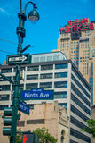 NEW YORK, USA - JUNE 22, 2017: Informative signs of name avenues in the streets in the beautiful of New York city with Royalty Free Stock Photography