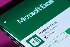 Microsoft excel application. New york, USA - June 10, 2018: Microsoft excel application on android smartphone screen close up view stock images