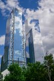 New york,USA-June 16,2018:The Modern Buliding is tall in new york city near One World Trade building at USA. Center manhattan tower skyscraper office royalty free stock photography