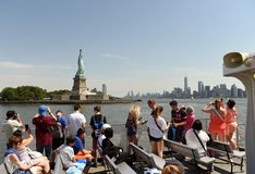New York, USA - June 09, 2018: Passengers of the Ferry of Statue royalty free stock photography