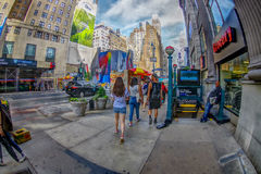 NEW YORK, USA - JUNE 22, 2017: Unidentified people walking near of penn train station, city of New York surrounding with Royalty Free Stock Images