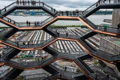 New York, USA - June 21, 2019:  The Vessel at Hudson Yards located on Manhattan West side - Image. New York, USA - June 21, 2019:  The Vessel at Hudson Yards stock images