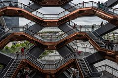 New York, USA - June 21, 2019: The Vessel at Hudson Yards located on Manhattan West side - Image. New York, USA - June 21, 2019:  The Vessel at Hudson Yards royalty free stock photos