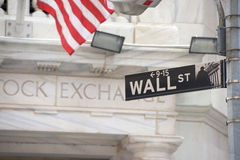 NEW YORK - USA - 13 JUNE 2015 wall street stock exchange sign. NEW YORK - USA - 13 JUNE 2015 wall street sign Royalty Free Stock Photos