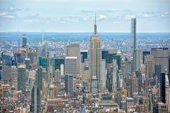 NEW YORK - USA - 13 JUNI 2015 manhattan flyg- sikt från frihetstorn Royaltyfri Foto