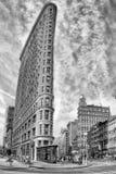 NEW YORK - USA - 11 JUNI 2015 strykjärnbyggnad i svartvitt Royaltyfri Foto