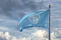 NEW YORK - USA - 11. Juni 2015 wellenartig bewegende UNO-Flagge der Vereinten Nationen Stockbilder