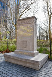 New York, USA. The limestone stele Walloon Settlers Memorial, in Battery Park. New York, USA. The limestone stele Walloon Settlers Memorial, in Battery Park Royalty Free Stock Photo
