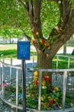NEW YORK, USA - 5. MAI 2017: Blumen im Erinnerungsmuseum nahe einem World Trade Center, Ansicht vom Straßenniveau herein gelegen Lizenzfreies Stockfoto