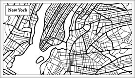 New York USA Map in Black and White Color. Stock Image