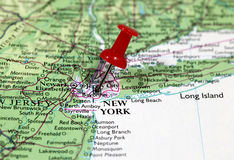 New York in USA. Map with pin point of New York in USA stock image