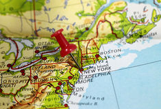 New York in USA. Map with pin point of New York in USA royalty free stock photography