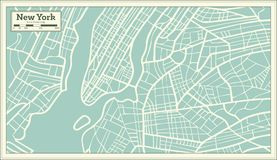 New York USA Map in Retro Style. Stock Images