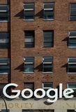 Google sign at headquarter in NY. NEW YORK-USA, march 21, 2017:  Google sign in front of the Google building, 111 Eighth Avenue and is the property with the Stock Image