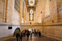 Grand Central Terminal Gallery with beautiful chandeliers lamps. stock photography