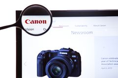 New York, USA - March 25, 2019: Illustrative Editorial of Canon website homepage. Canon logo visible on display screen. New York, USA - March 25, 2019 royalty free stock photo
