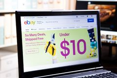 New York, USA - March 25, 2019: Illustrative Editorial of Website of eBay logo visible on display screen. New York, USA - March 25, 2019: Illustrative Editorial stock photos