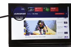 New York, USA - March 25, 2019: Illustrative Editorial Website of EuroSport logo visible on display screen. New York, USA - March 25, 2019: Illustrative royalty free stock photos