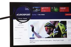 New York, USA - March 25, 2019: Illustrative Editorial Website of EuroSport logo visible on display screen. New York, USA - March 25, 2019: Illustrative royalty free stock photography