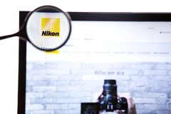 New York, USA - March 25, 2019: Illustrative Editorial of the website for Nikon Corporation,a Japanese multinational. Corporation headquartered in Tokyo stock images