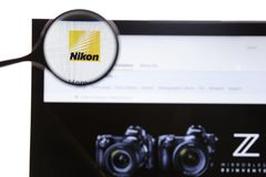 New York, USA - March 25, 2019: Illustrative Editorial of the website for Nikon Corporation,a Japanese multinational. Corporation headquartered in Tokyo royalty free stock image
