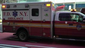 NEW YORK, USA - MAY 5, 2019: Ambulance car driving in New York city stock video