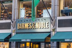 NEW YORK, USA - 17 MAY, 2019: Barnes and Noble Bookstore sign in New York USA. bookseller with the largest number of. NEW YORK, USA - 17 MAY, 2019: Barnes and stock photo