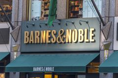 NEW YORK, USA - 17 MAY, 2019: Barnes and Noble Bookstore sign in New York USA. bookseller with the largest number of. NEW YORK, USA - 17 MAY, 2019: Barnes and royalty free stock image