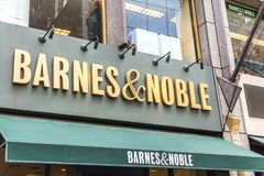 NEW YORK, USA - 17 MAY, 2019: Barnes and Noble Bookstore sign in New York USA. bookseller with the largest number of. NEW YORK, USA - 17 MAY, 2019: Barnes and royalty free stock photo