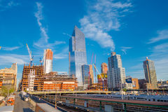 NEW YORK, USA - MAY 05, 2017: Beautiful view of Manhattan city with skyscrapers, roads and gorgeous buildings with some. New buildings in construction in New royalty free stock photos