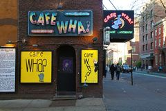 Cafe Wha in Greenwich Village. New York, USA - May 1, 2018: Cafe Wha in Greenwich Village stock images