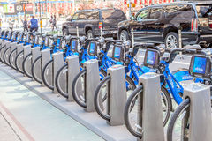 New York, USA- May 20, 2014. Citi Bike The Bicycle Rental of New Royalty Free Stock Image