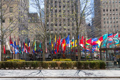 NEW YORK, USA - MAY 5, 2014: flags of different country near the Royalty Free Stock Image